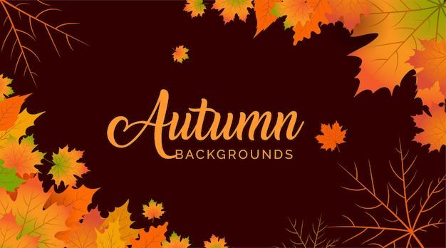 Осенний фон, осенние листья фон, Premium векторы