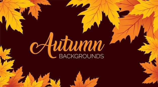 Осенние листья фон Premium векторы