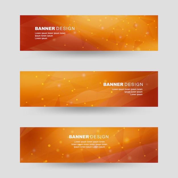 オレンジ色の多角形図形バナーセット Premiumベクター