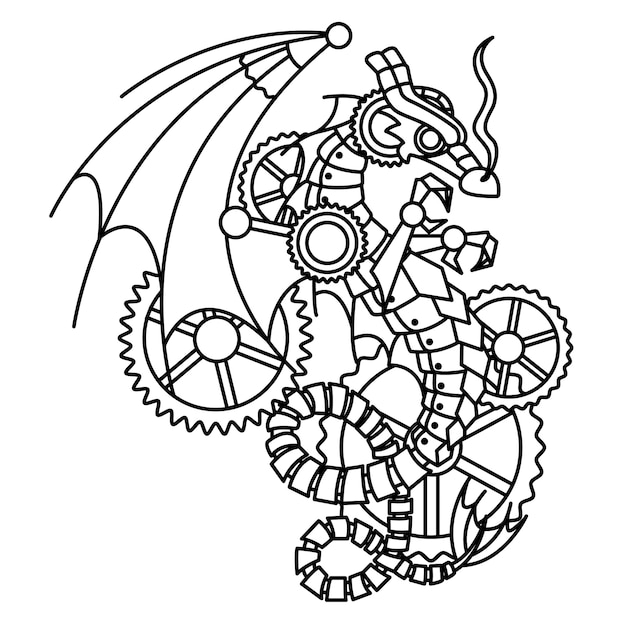 Рисунок черного дракона в стиле стимпанк Premium векторы