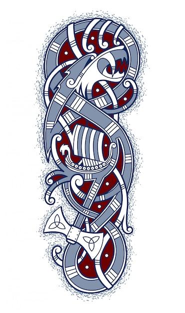 Эмблема смелых викингов, путешествующих на корабле Premium векторы