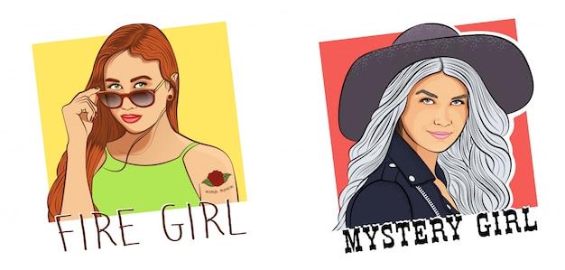 Два портрета загадочных девушек Premium векторы