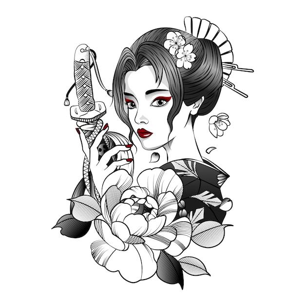 彼女の手に刀を持つ日本の女の子 Premiumベクター