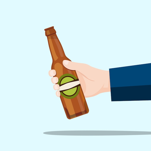 右手、ビール瓶、青色の背景 Premiumベクター