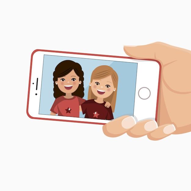 スマートフォンで幸せな友達の写真。かわいい女の子が一緒に撮影されています。 Premiumベクター