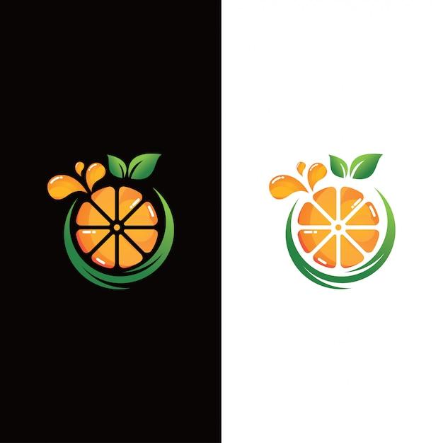 Свежий апельсин фруктовый логотип Premium векторы