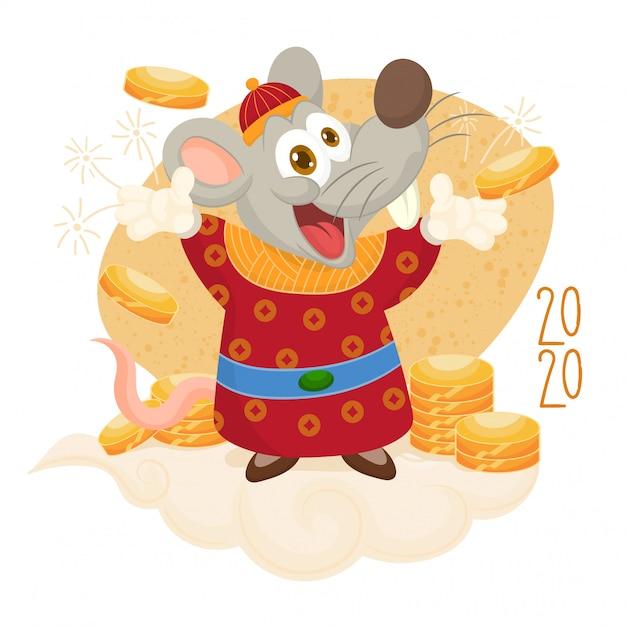 С новым годом. крыса с монетами удачи Premium векторы