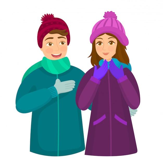 Прекрасная пара в зимней одежде Premium векторы