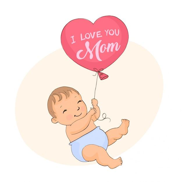 Милый маленький мальчик с воздушным шаром Premium векторы