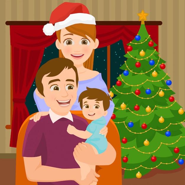 クリスマスツリーの近くの家族 Premiumベクター