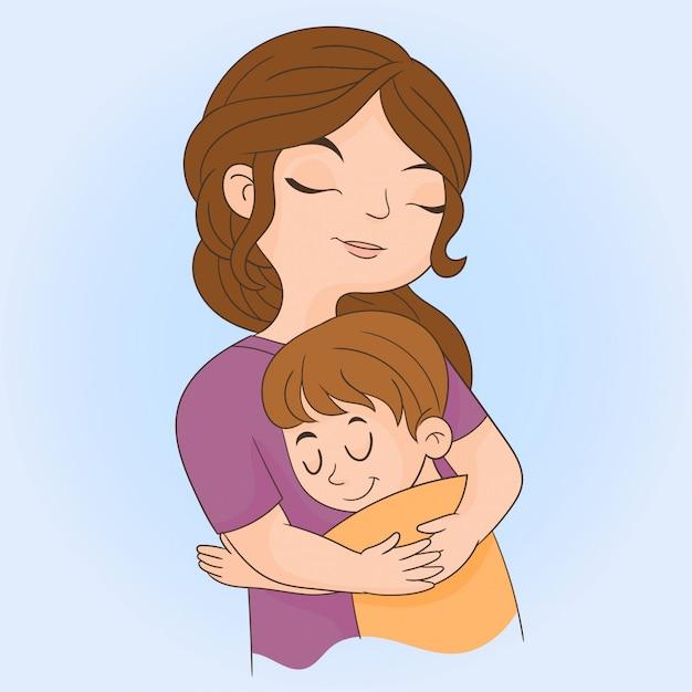 母は息子を抱擁します。 Premiumベクター