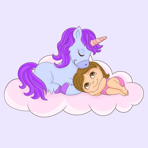 眠っている少女とユニコーン Premiumベクター