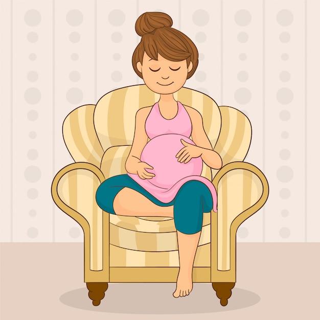 ソファーに座っていた妊娠中の女性 Premiumベクター