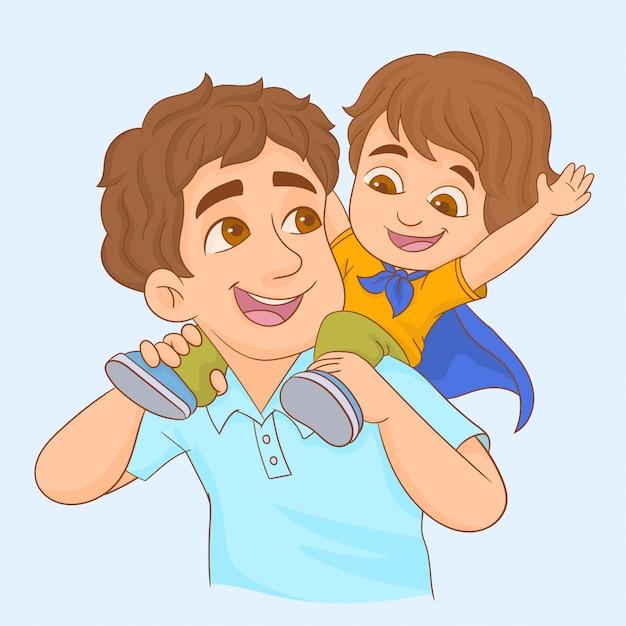 父と息子の演奏 Premiumベクター