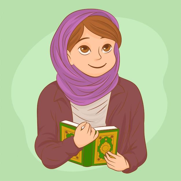 Красивая мусульманка с хиджабом молится Premium векторы