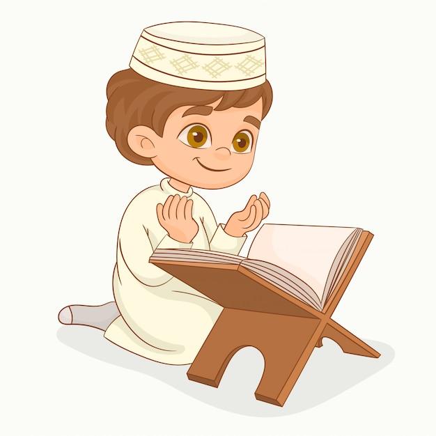 Маленький мусульманский мальчик молится Premium векторы