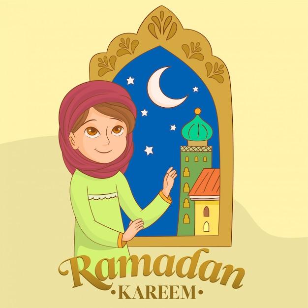 祈るイスラム教徒の少女 Premiumベクター