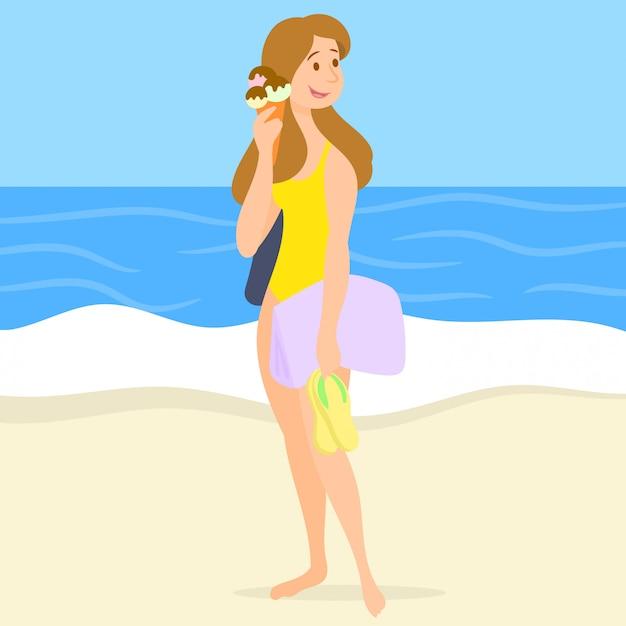 Девушка с мороженым на пляже Premium векторы