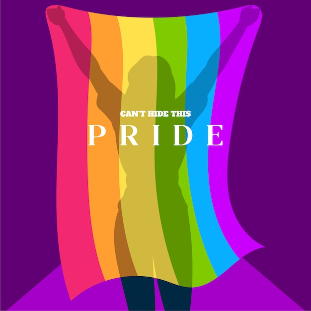Силуэт девушки с флагом гей-прайда Premium векторы