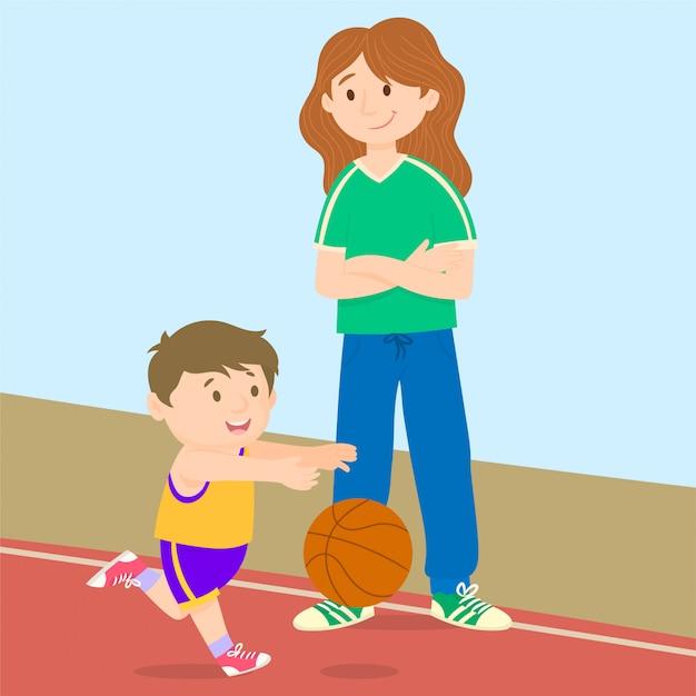 若い男の子が楽しんでバスケットボール Premiumベクター