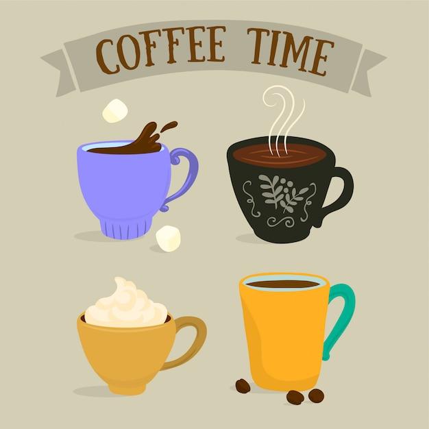 さまざまなコーヒーカップ Premiumベクター
