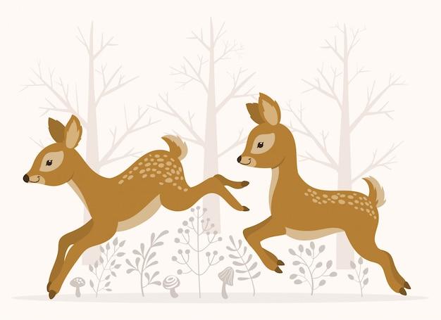 鹿が走ってジャンプ Premiumベクター
