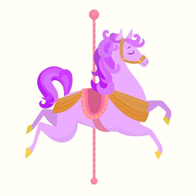 素敵なピンクのカルーセル馬 Premiumベクター