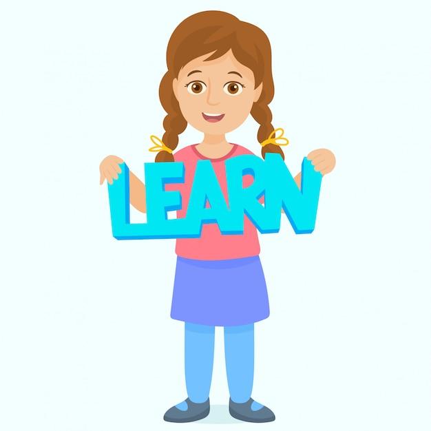 女の子は「学ぶ」レタリングを保持 Premiumベクター