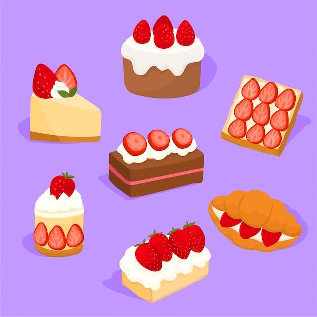 Набор вкусных клубничных пирогов и конфет Premium векторы