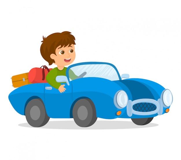 Счастливый мальчик за рулем автомобиля Premium векторы