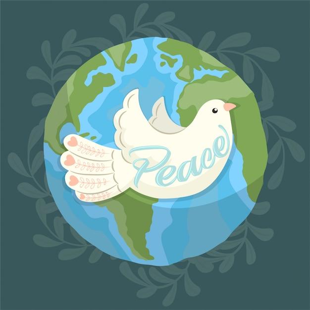 地球を飛び回る平和の象徴としての鳩 Premiumベクター