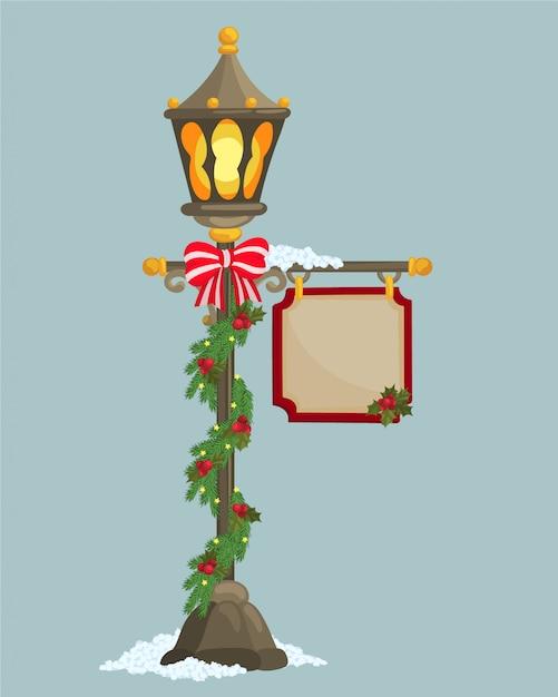 Рождественский фонарный столб и баннер Premium векторы