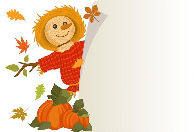 かわいいかかしとカボチャで秋の収穫 Premiumベクター