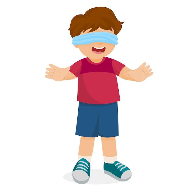 Мальчик с завязанными глазами гуляет один Premium векторы