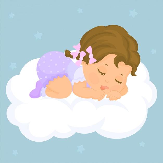 クラウドで寝ている女の赤ちゃん Premiumベクター
