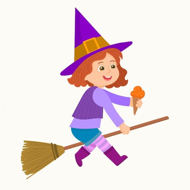 Маленькая ведьма летит на метле Premium векторы