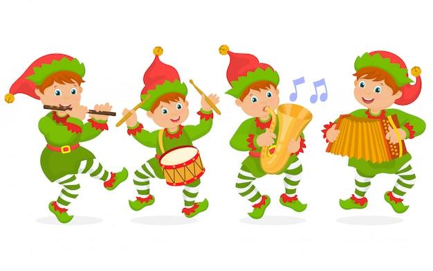 Гномы играют рождественскую музыку Premium векторы
