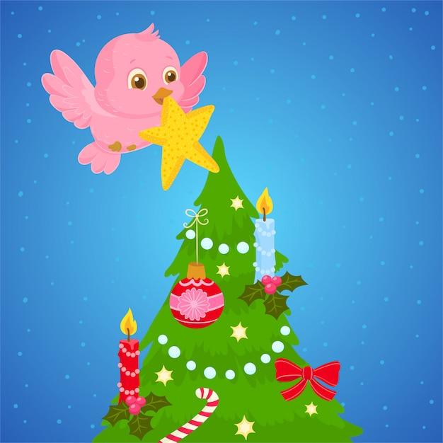 クリスマスツリーに星を置く鳥 Premiumベクター