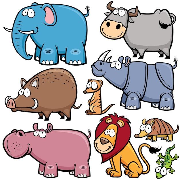 野生動物の漫画 Premiumベクター