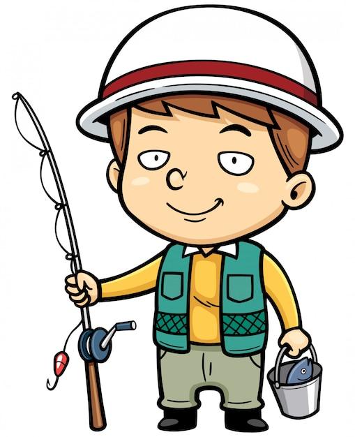 Мультфильм маленький рыбак Premium векторы