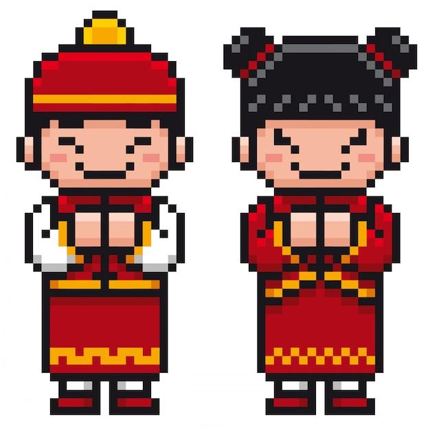 漫画中国の子供たち Premiumベクター