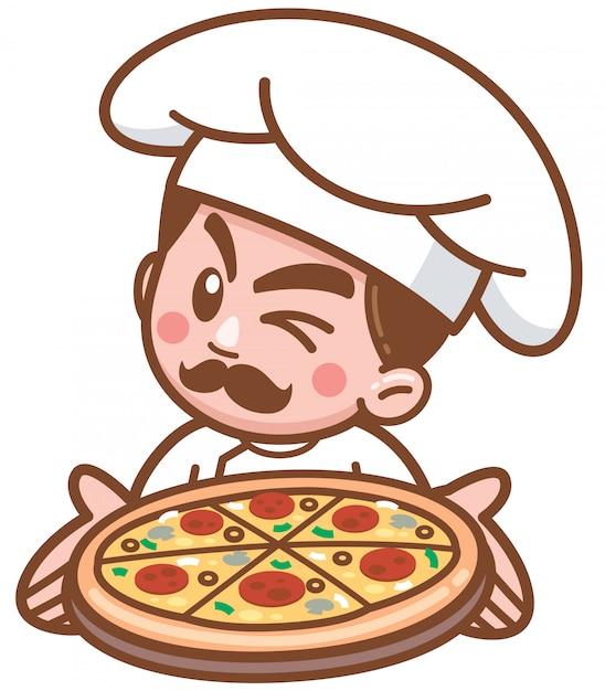食べ物を提示する漫画ピザシェフのベクトルイラスト Premiumベクター