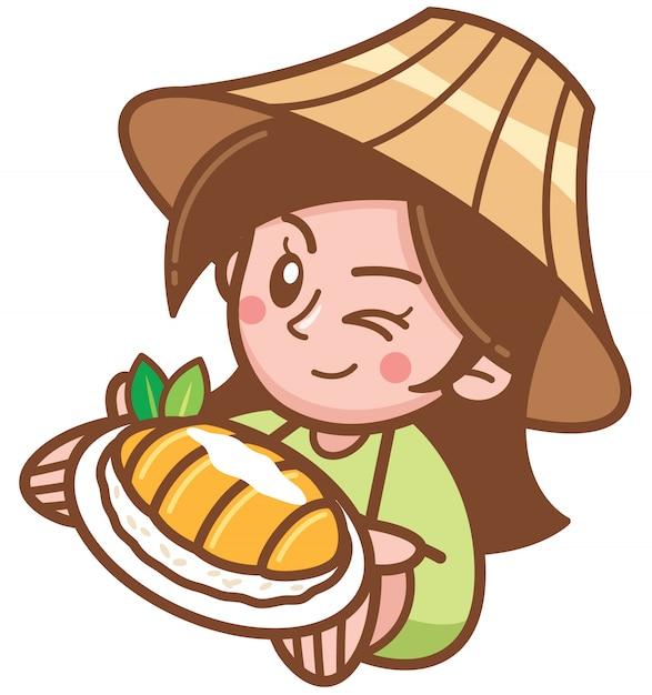 マンゴーもち米を提示漫画女性のベクトルイラスト Premiumベクター