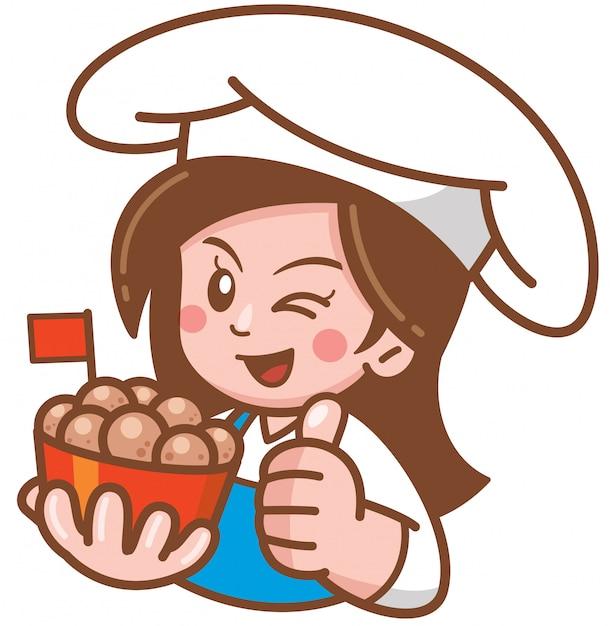 食べ物を提示する漫画女性のベクトルイラスト Premiumベクター