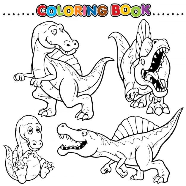 Раскраска из мультфильма - динозавры Premium векторы
