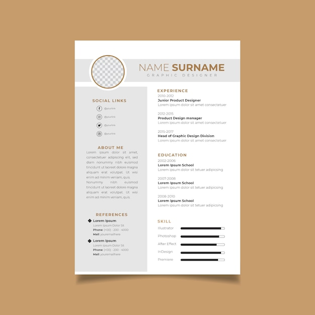 デザインテンプレートのミニマリスト履歴書を再開します。求人応募のビジネスレイアウトベクトル。 Premiumベクター