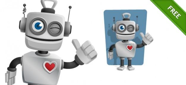 心と親指ロボット 無料ベクター