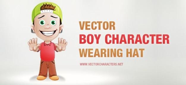帽子が付いている男の子のベクトル文字 無料ベクター