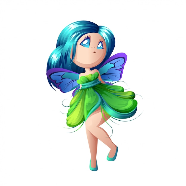 翼を持つ美しい森の妖精。 Premiumベクター