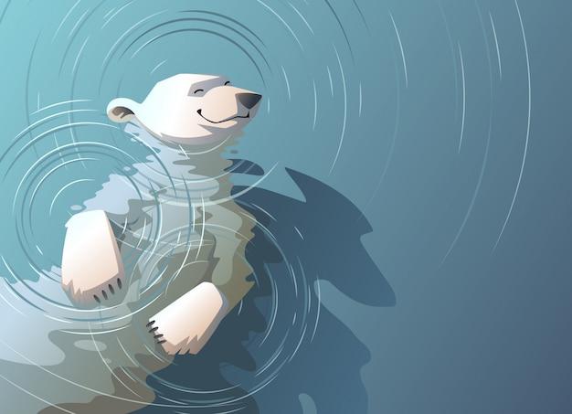 Плавающий в воде белый медведь. Premium векторы